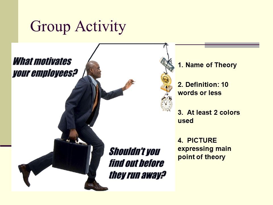 Group Activity 1. Name of Theory 2. Definition: 10 words or less