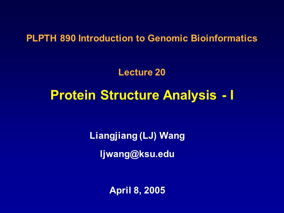 Protein Structure Analysis - I