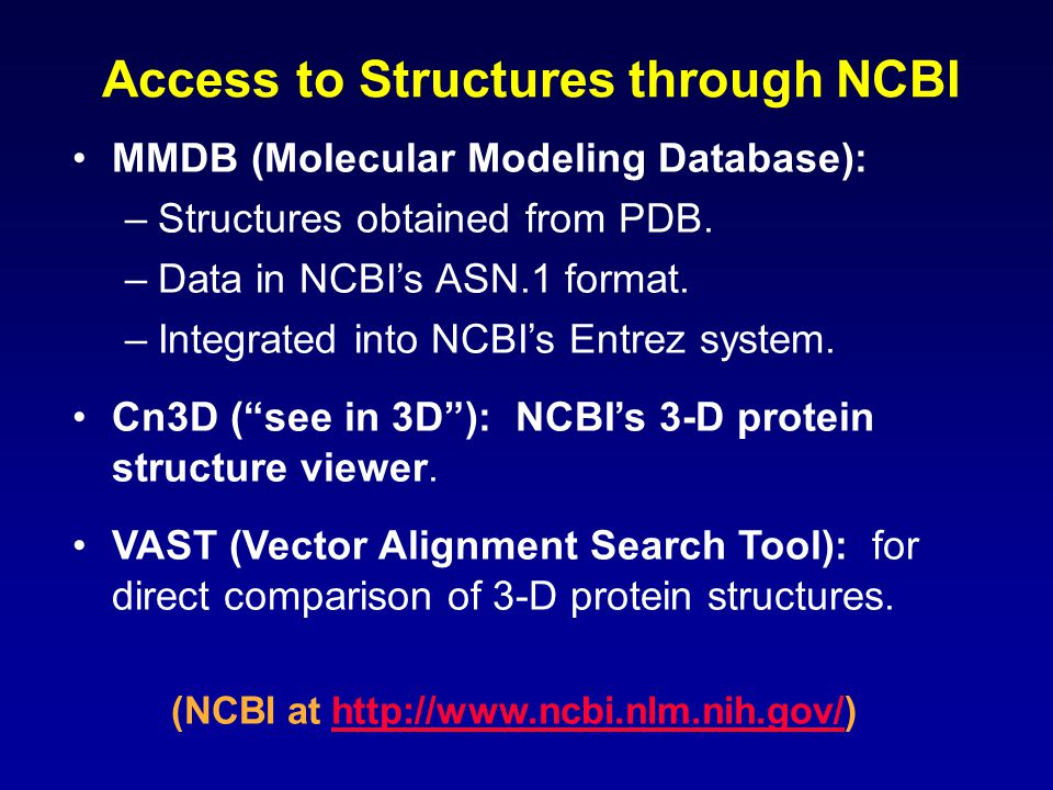 Access to Structures through NCBI