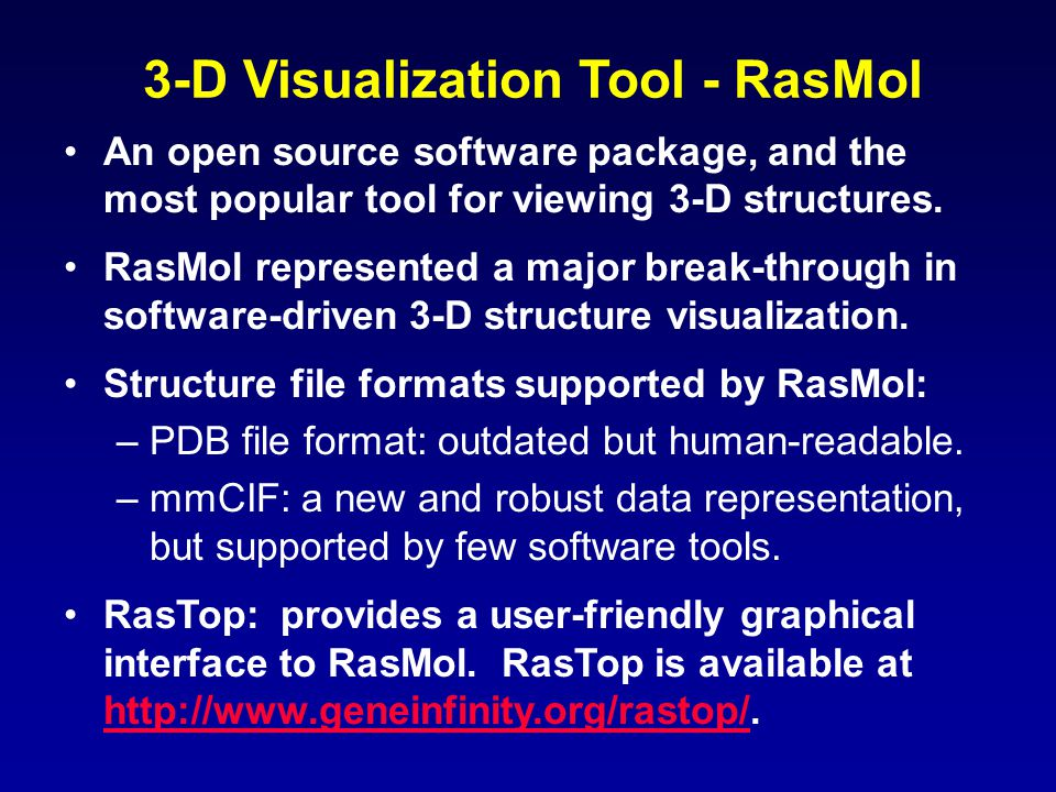 3-D Visualization Tool - RasMol