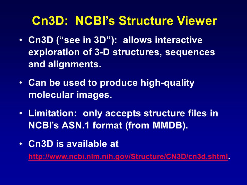 Cn3D: NCBI's Structure Viewer