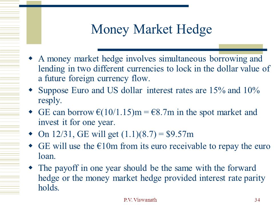 money market hedge mmh Money market hedge (mmh) (a) to hedge export receivable in usd (i) borrow the present value of usd (ii) convert the usd to aud in spot market (this allows you to know how much aud you will get for the receivable, therefore hedged) (iii) the future value of this aud is equivalent to the usd receivable, an implied forward rate is obtained.