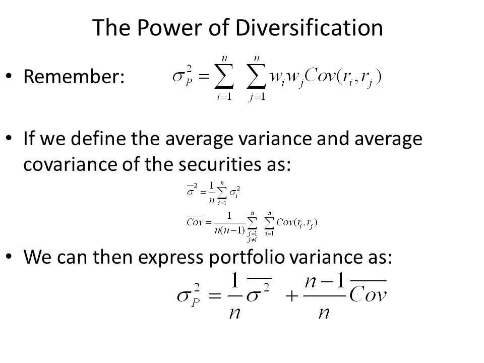The Power of Diversification