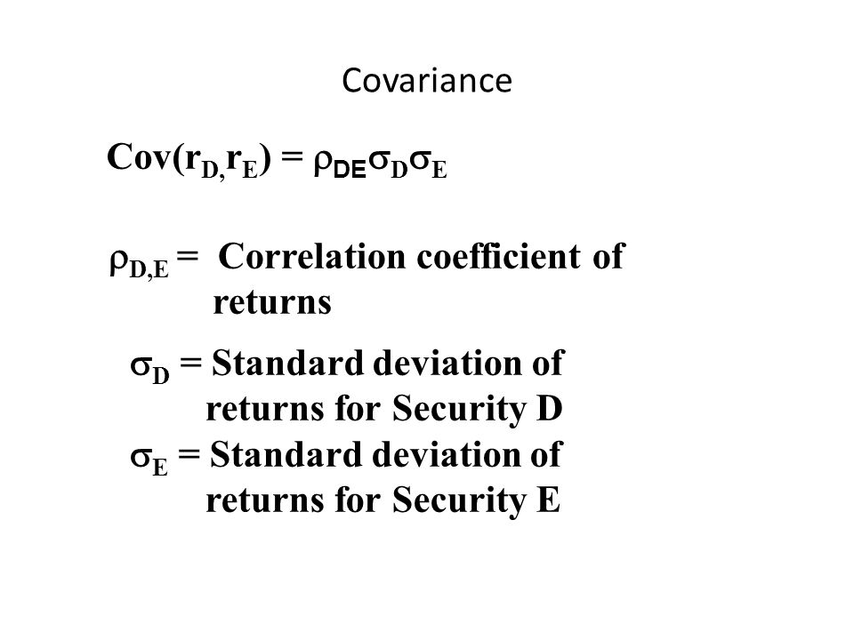 Covariance Cov(rD,rE) = DEDE. D,E = Correlation coefficient of. returns. D = Standard deviation of.