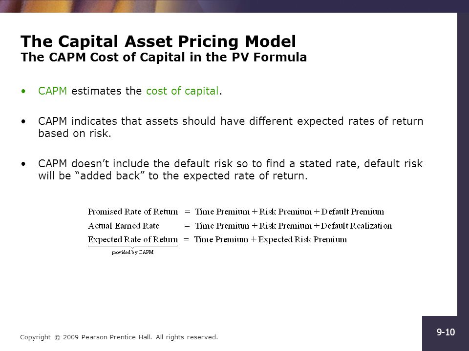 capital asset pricing model capm versus Since 1970 the financial company using the capital assets pricing model (capm) to calculate their cost of the portfolio performance and the cost of.