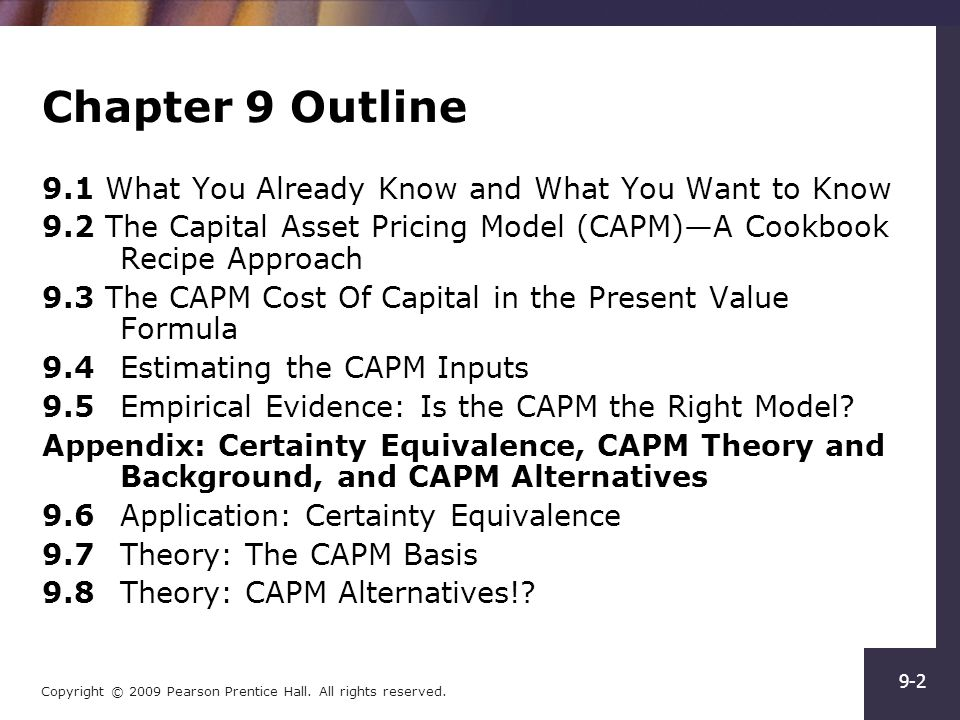 Capm econometric formula implications and imperical