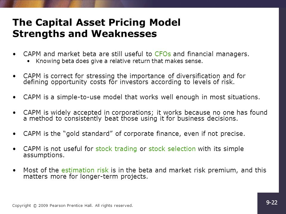 capital asset pricing model capm The capital asset pricing model (capm) is used to calculate the required rate of return for any risky asset your required rate of return is the increase in value you .