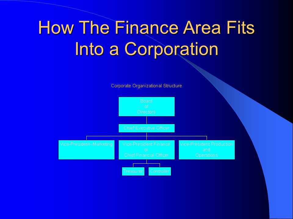 How The Finance Area Fits Into a Corporation