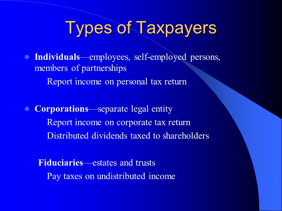 Types of Taxpayers Individuals—employees, self-employed persons, members of partnerships. Report income on personal tax return.