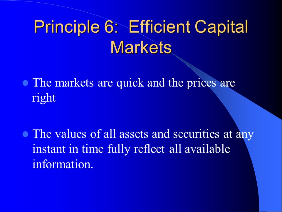 Principle 6: Efficient Capital Markets