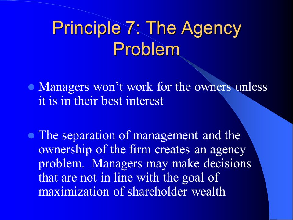 Principle 7: The Agency Problem