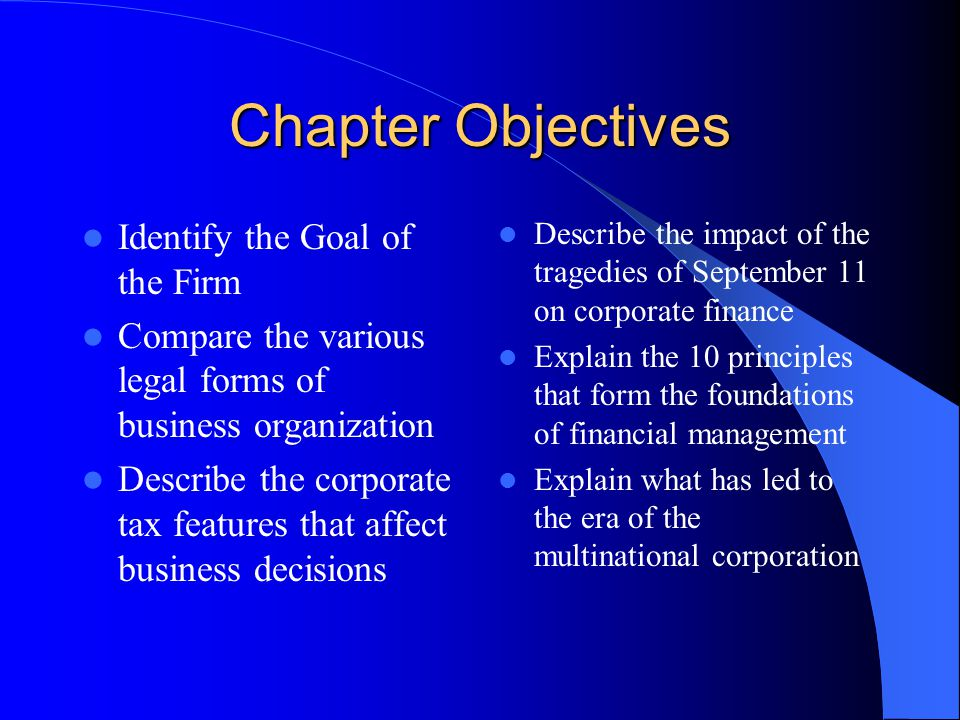 Chapter Objectives Identify the Goal of the Firm