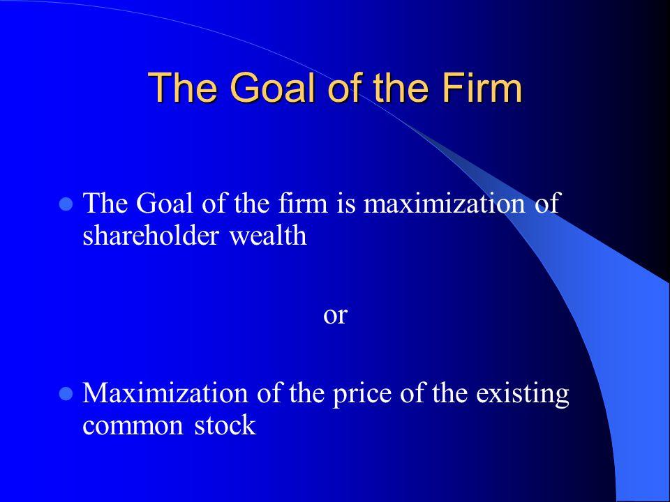 The Goal of the Firm The Goal of the firm is maximization of shareholder wealth.