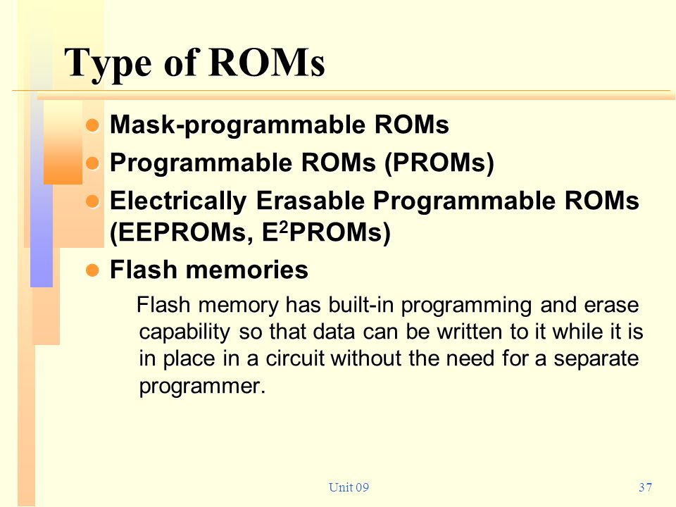 Type of ROMs Mask-programmable ROMs Programmable ROMs (PROMs)