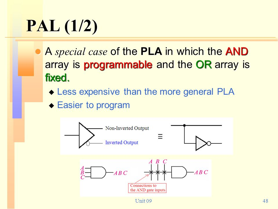 PAL (1/2) A special case of the PLA in which the AND array is programmable and the OR array is fixed.