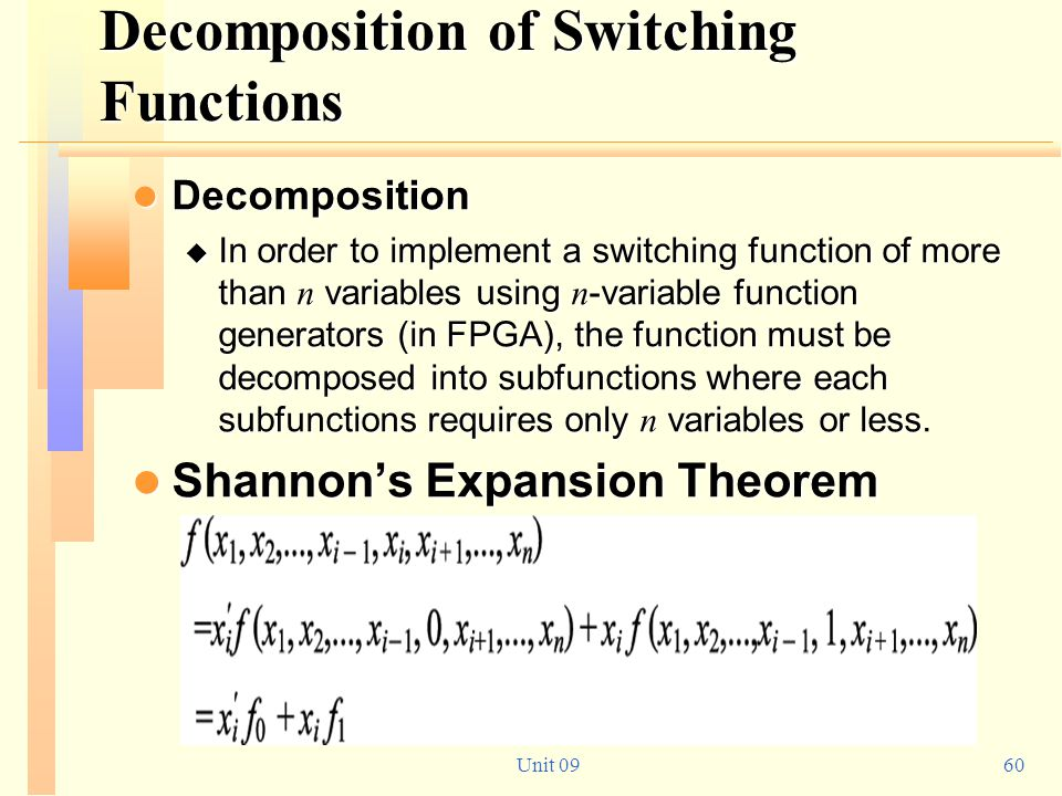 Decomposition of Switching Functions