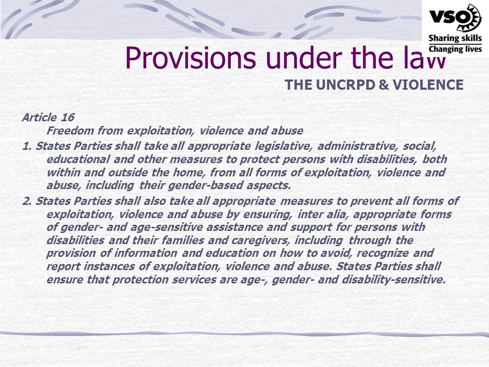 Provisions under the law