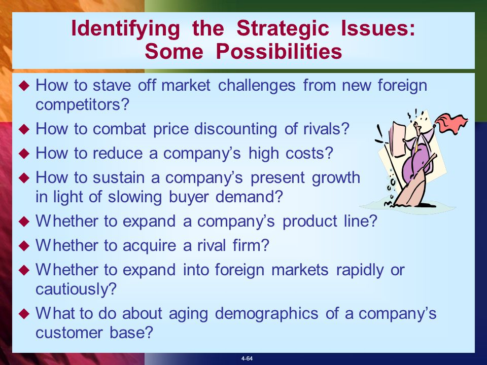 application identifying strategic issues Strategic management - ch 1 & 2 chapters 1 & 2 broadened from strategic planning to acknowledge that their environment is always changing and that a company many need to completely reinvent themselves and that continuously managing and evaluating the matter of identifying issues and.