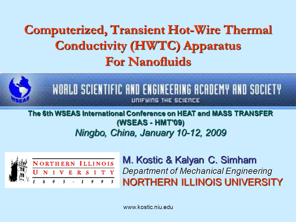 Computerized, Transient Hot-Wire Thermal Conductivity (HWTC ...