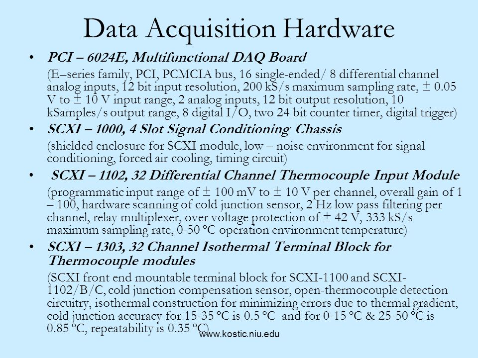 Data Acquisition Hardware Input Circuits : Computerized transient hot wire thermal conductivity