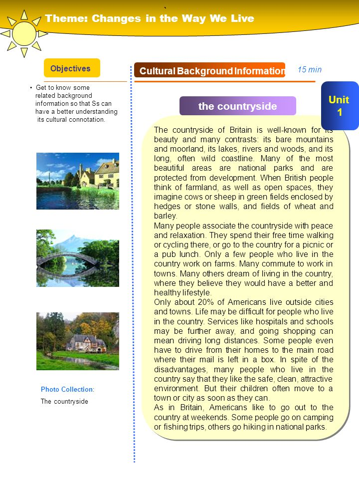 ` Theme: Changes in the Way We Live Unit 1 the countryside