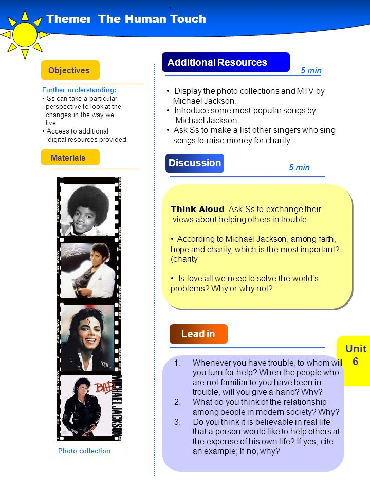 ` Theme: The Human Touch Unit 6 Additional Resources Discussion
