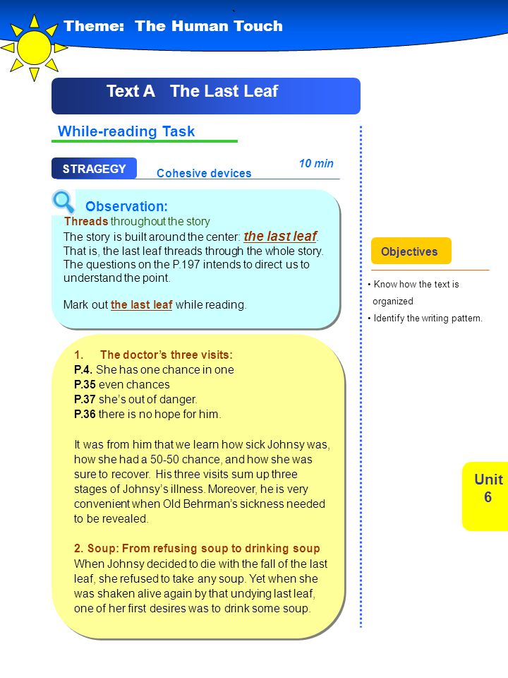 ` Text A The Last Leaf Theme: The Human Touch While-reading Task Unit