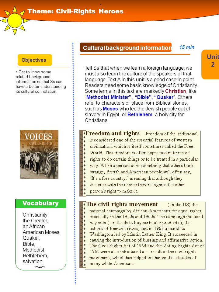 ` Theme: Civil-Rights Heroes Unit 2 Cultural background information