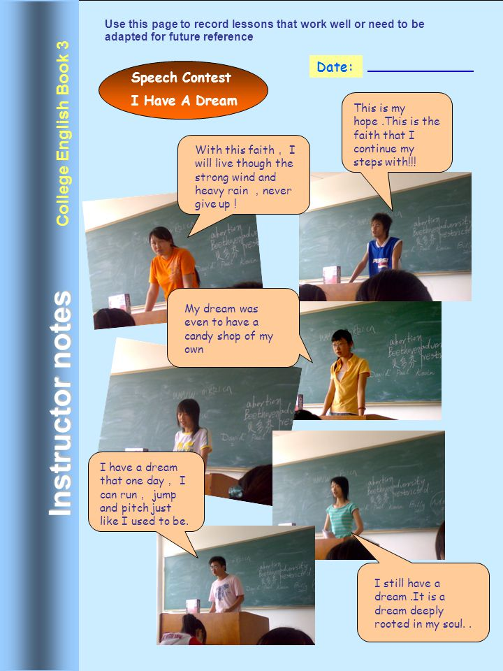 Instructor notes College English Book 3 Date: Speech Contest