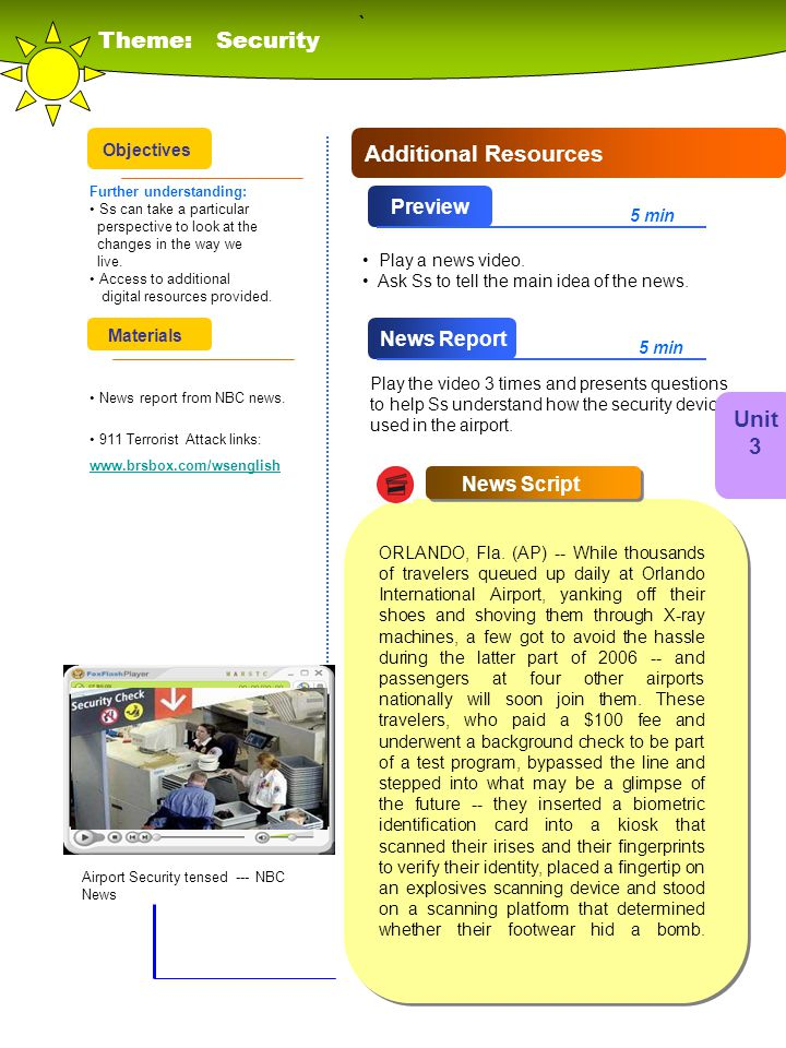 ` Theme: Security Additional Resources Unit 3 Preview News Report