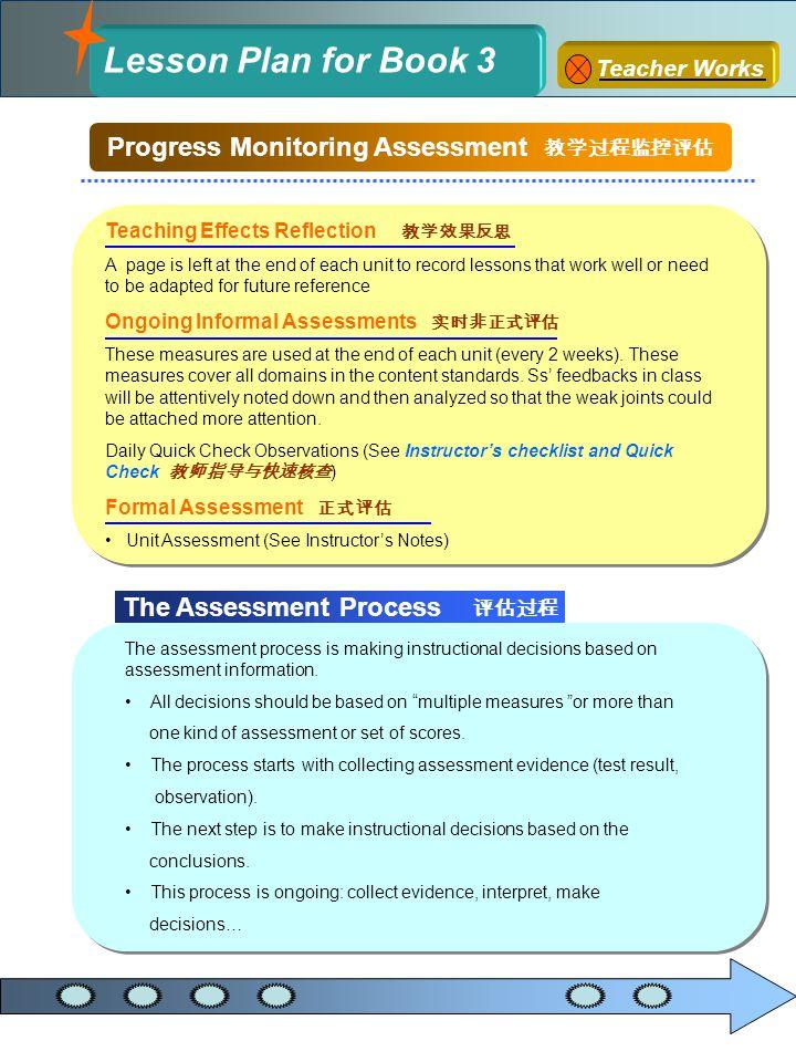 Progress Monitoring Assessment 教学过程监控评估 The Assessment Process 评估过程