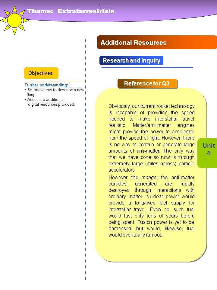 ` Theme: Extraterrestrials Additional Resources Unit 4