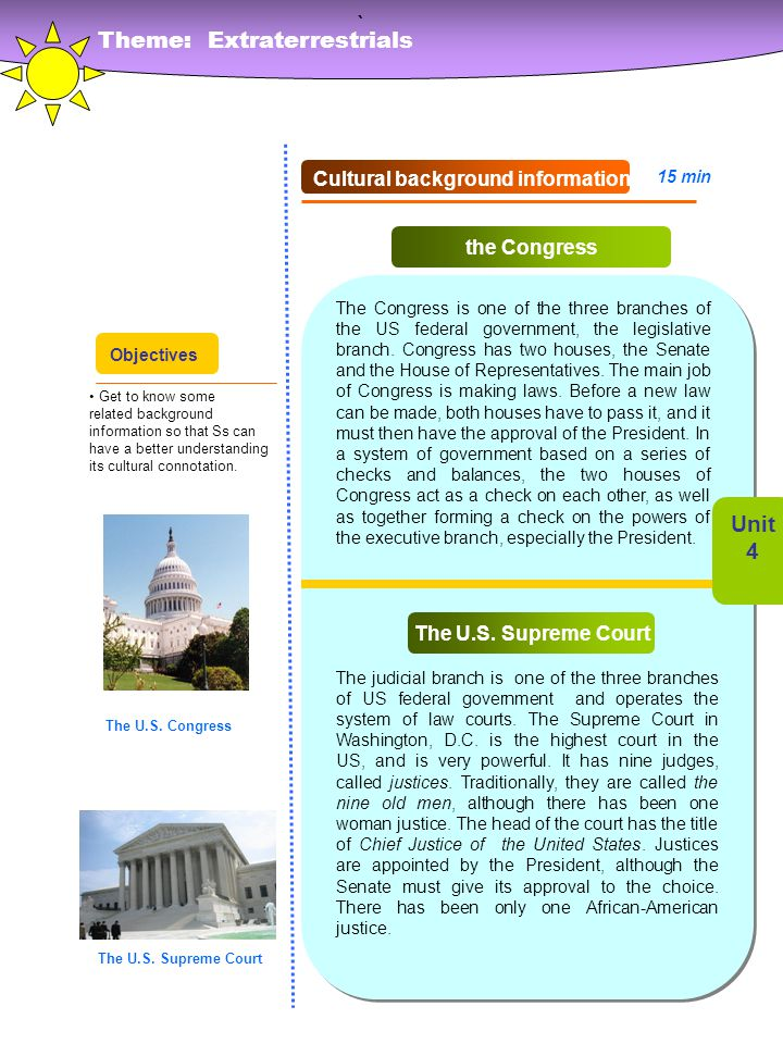 ` Theme: Extraterrestrials Unit 4 Cultural background information