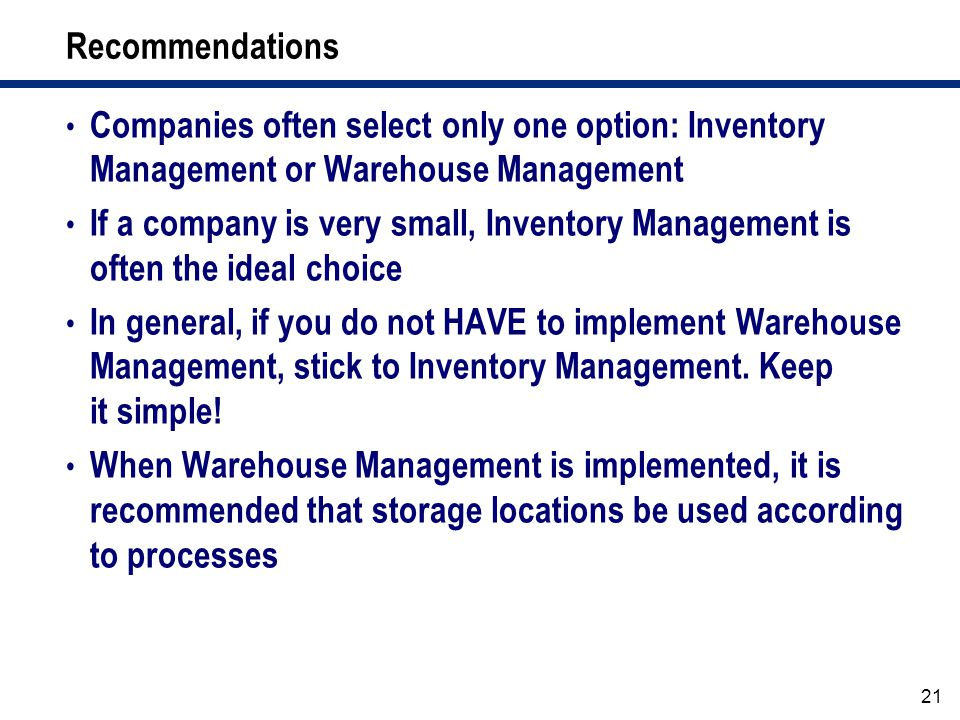 warehouse management general Referentials related to warehouse and storage management : the  receiving procedure  the clerk inspects the general condition of the material to determine.