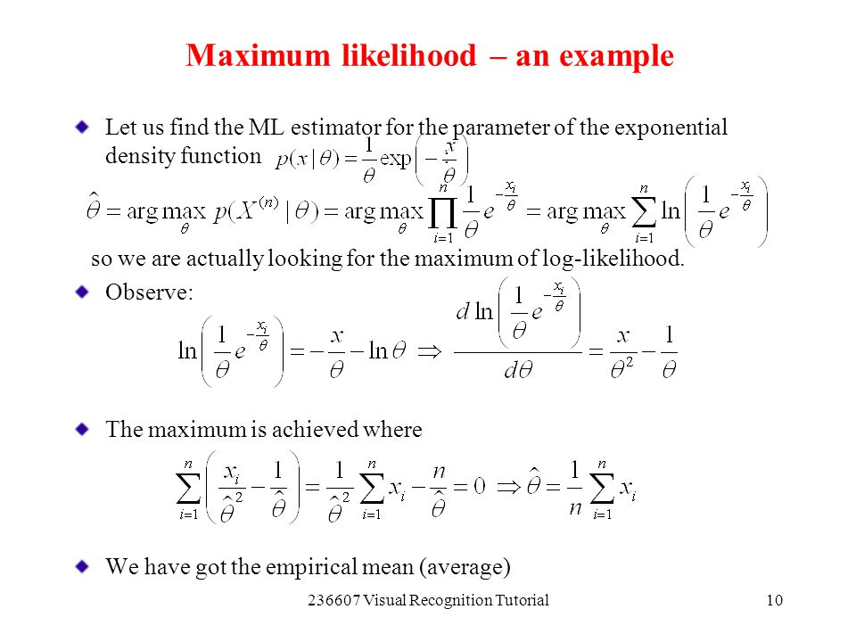 Maximum likelihood – an example