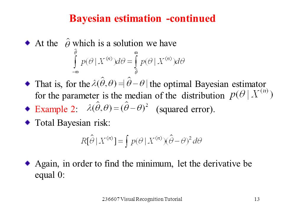 Bayesian estimation -continued