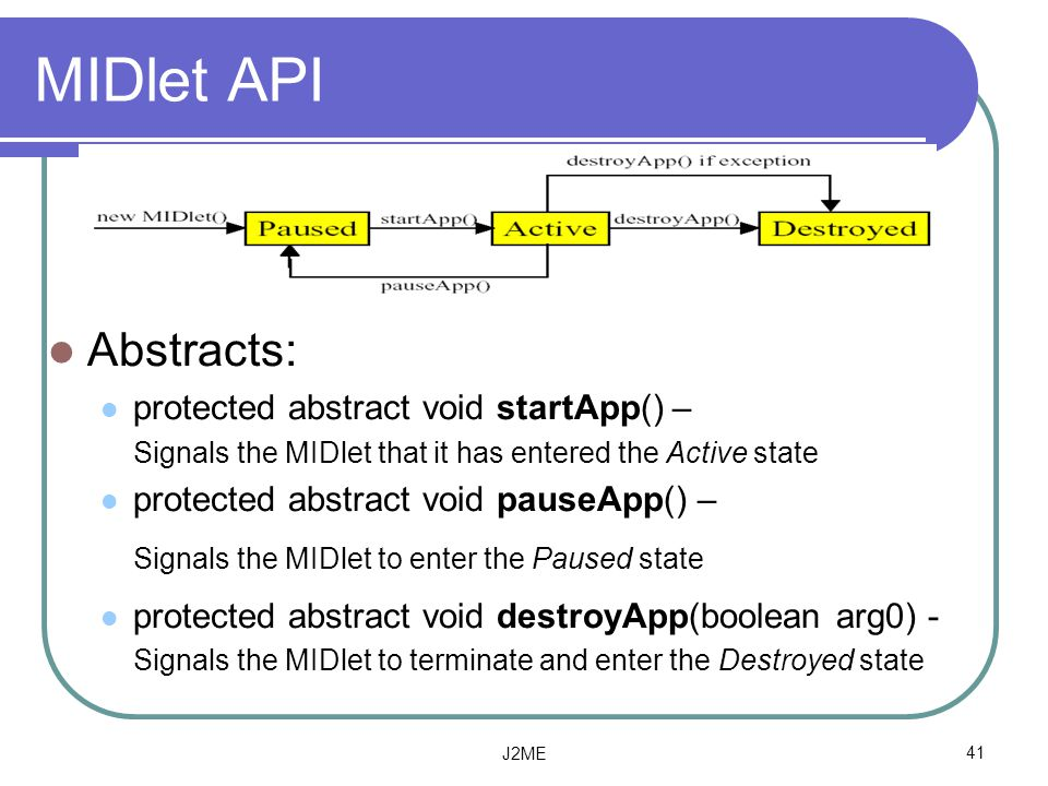 MIDlet API Abstracts: protected abstract void startApp() –