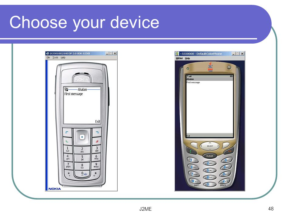 Choose your device J2ME