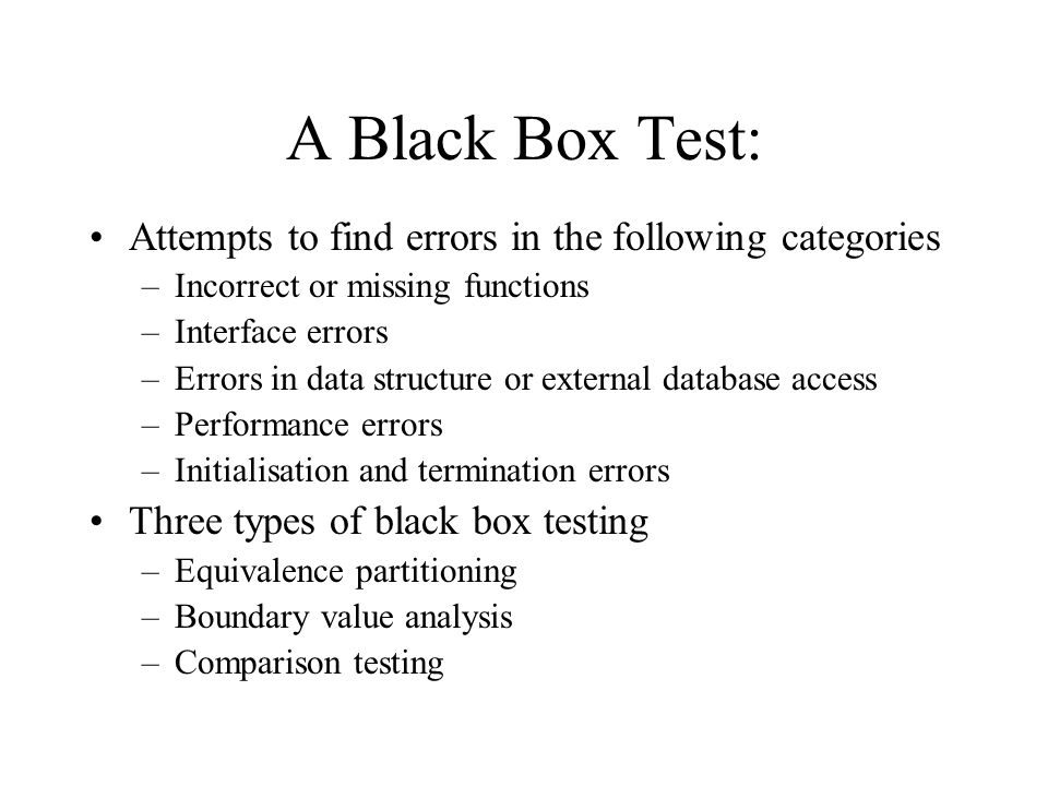 A Black Box Test: Attempts to find errors in the following categories