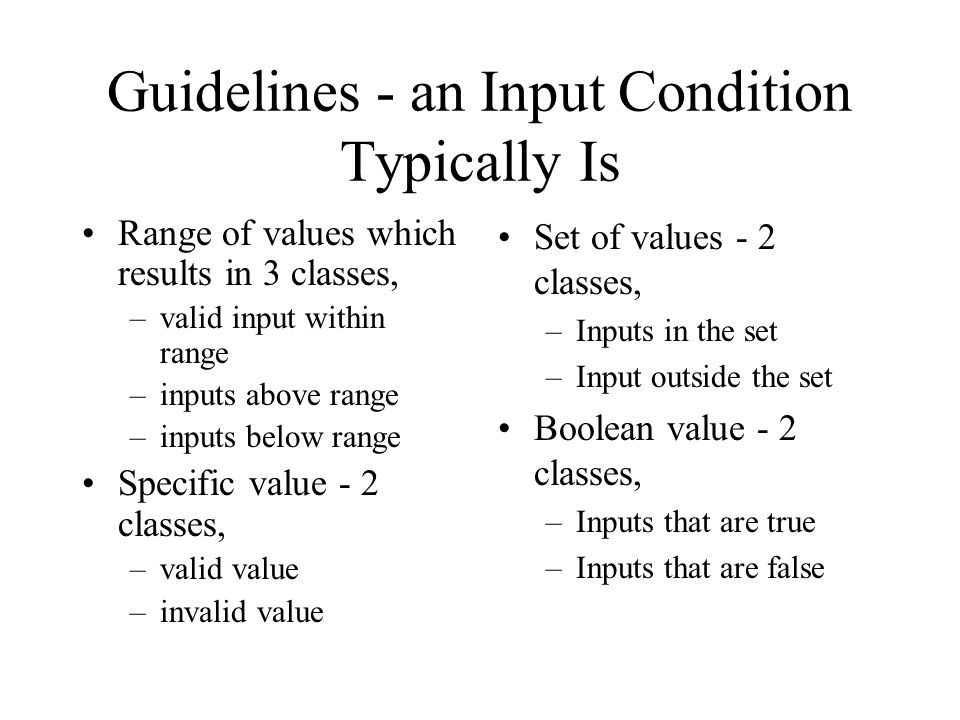 Guidelines - an Input Condition Typically Is