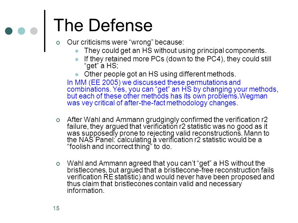 The Defense Our criticisms were wrong because: