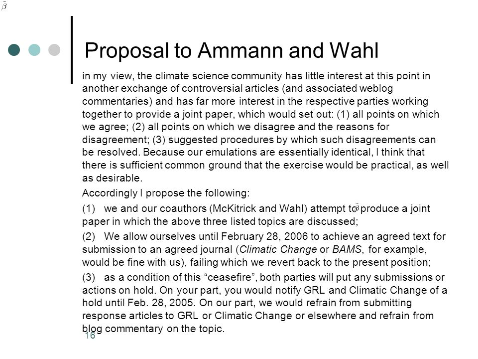 Proposal to Ammann and Wahl