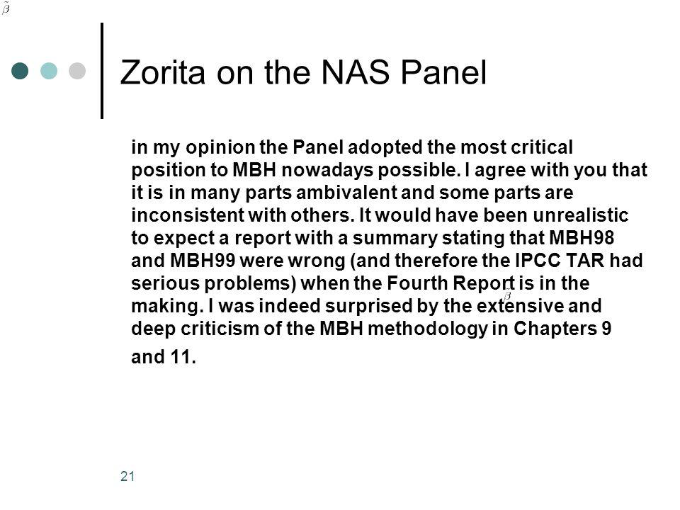 Zorita on the NAS Panel