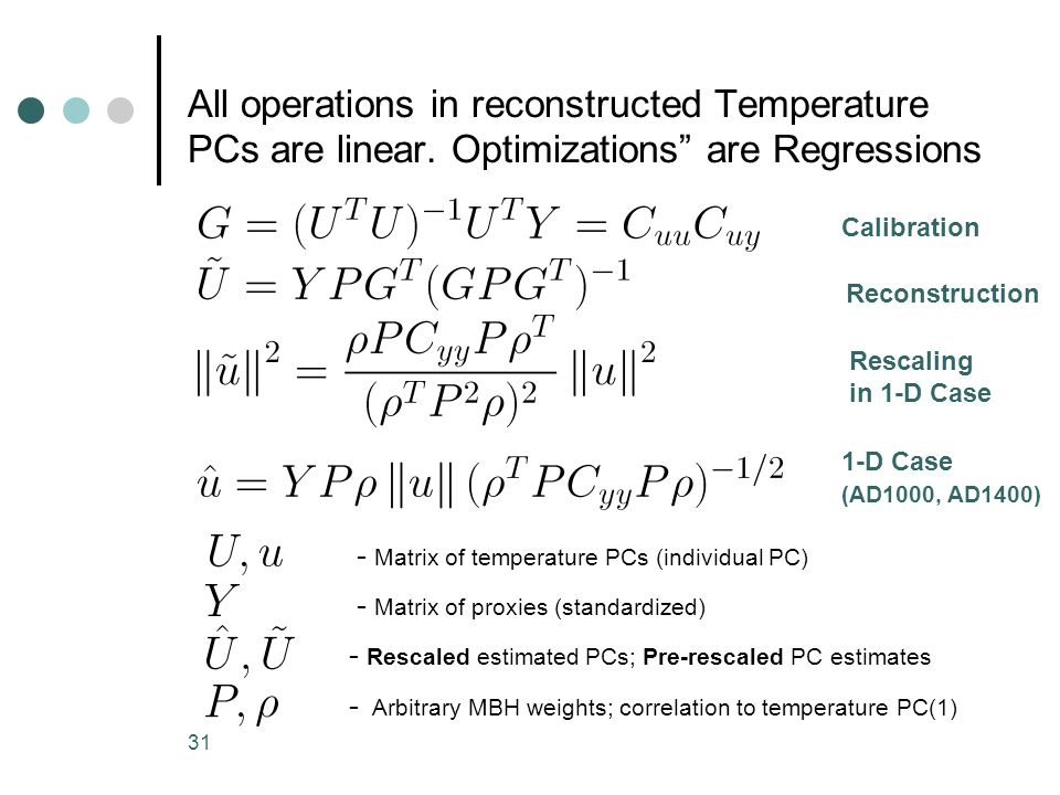 All operations in reconstructed Temperature PCs are linear