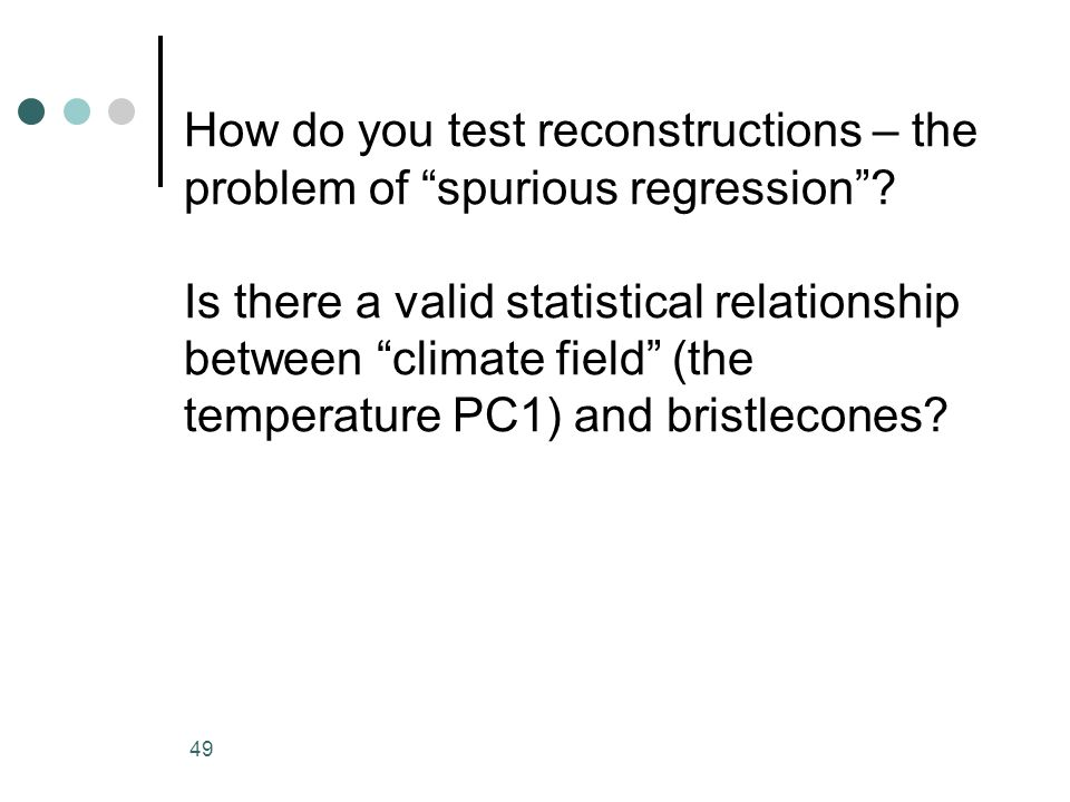 How do you test reconstructions – the problem of spurious regression