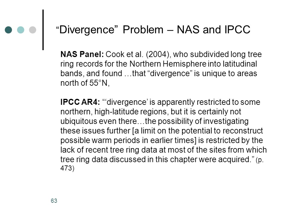 Divergence Problem – NAS and IPCC