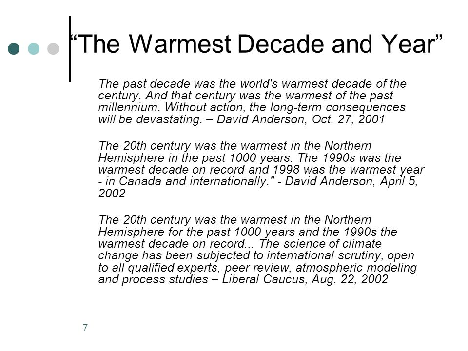 The Warmest Decade and Year