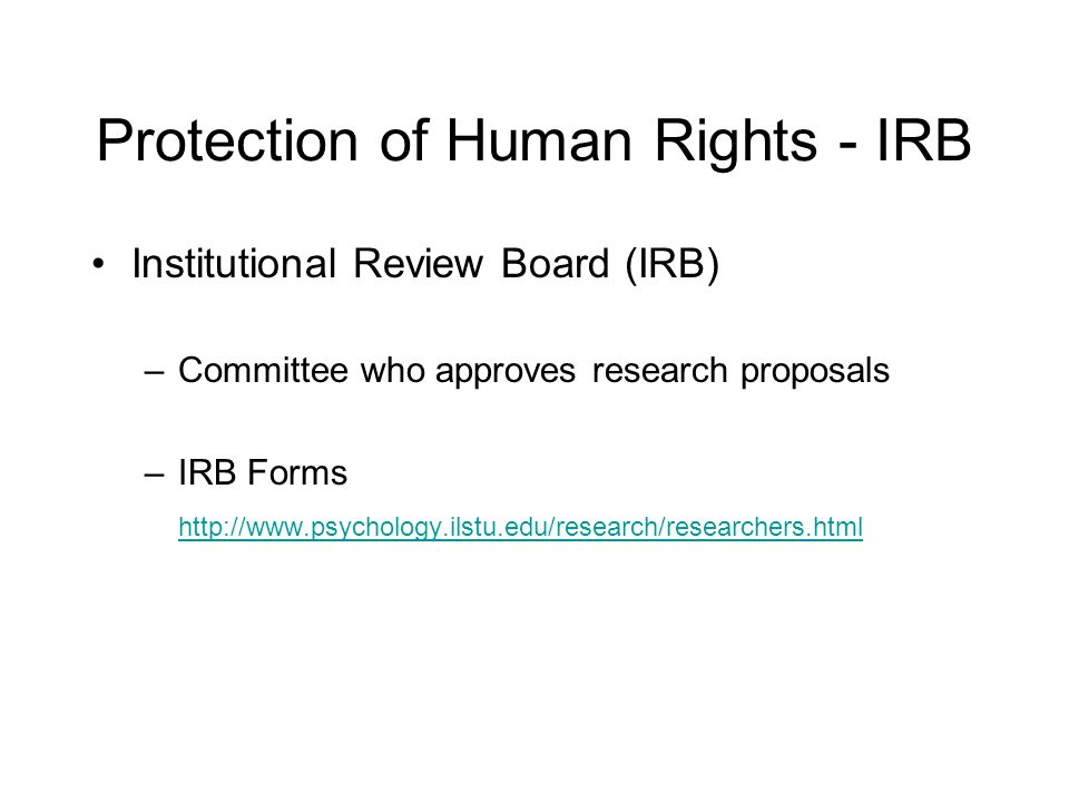 Protection of Human Rights - IRB