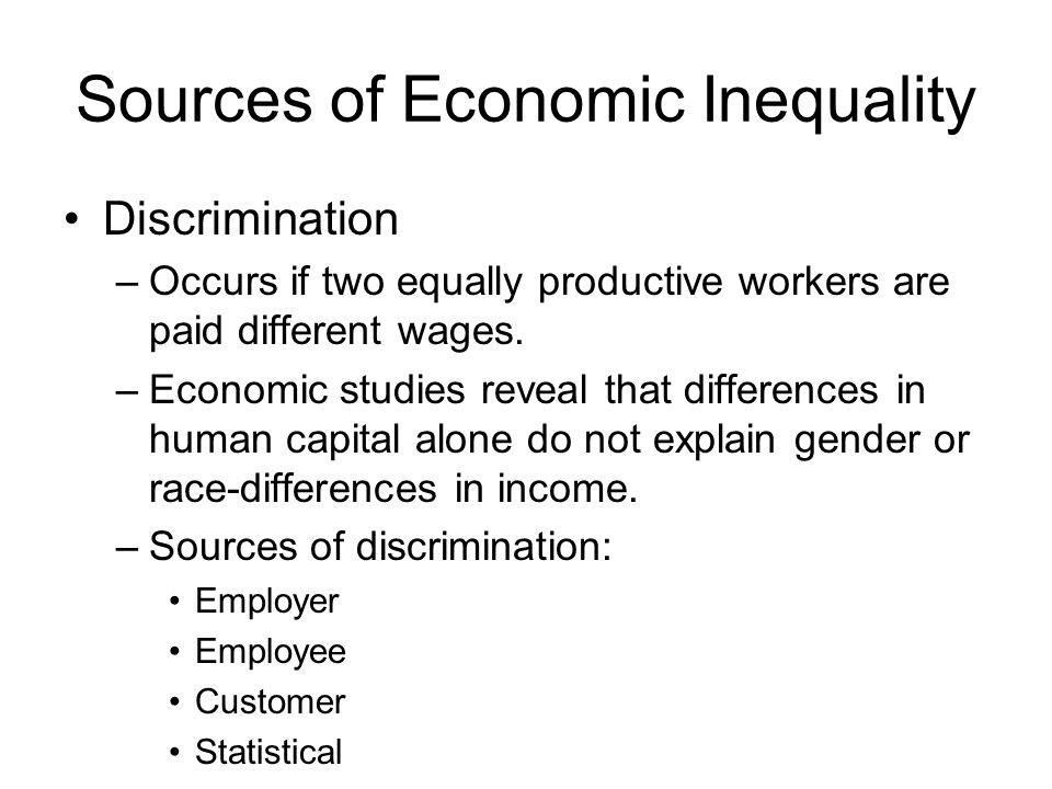 Sources of Economic Inequality