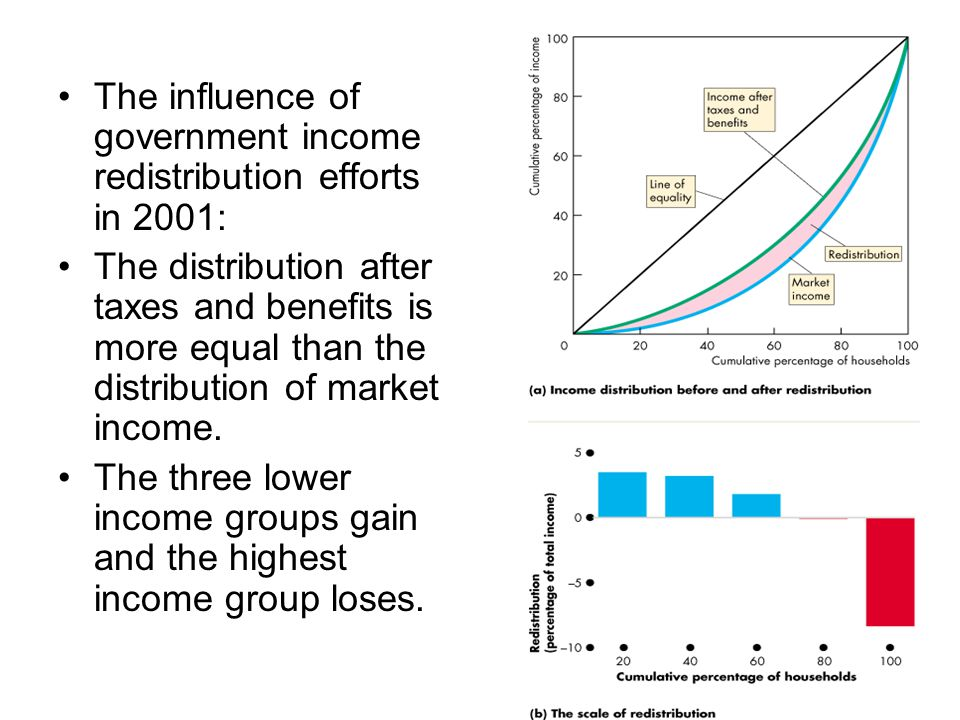 The influence of government income redistribution efforts in 2001: